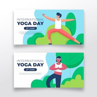 Hand gezeichneter internationaler tag des yoga-banners