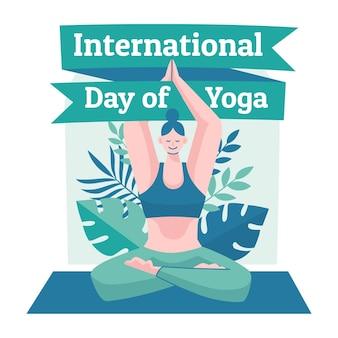 Hand gezeichneter internationaler tag des yoga