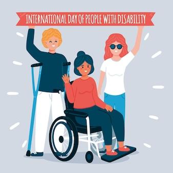 Hand gezeichneter internationaler tag von menschen mit behinderung Kostenlosen Vektoren