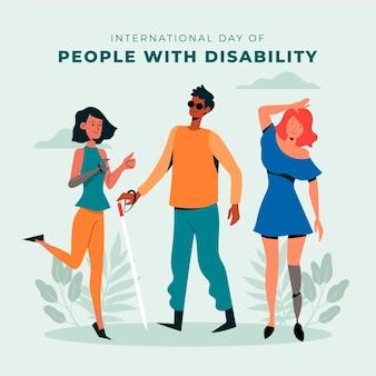Hand gezeichneter internationaler tag von menschen mit behinderung