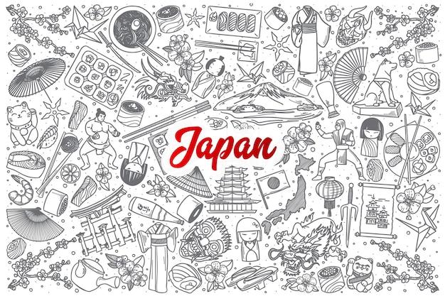 Hand gezeichneter japan-gekritzel-satzhintergrund mit roter beschriftung