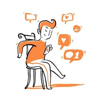 Hand gezeichneter junger mann, der auf dem stuhl sitzt und eine nachricht sendet