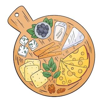 Hand gezeichneter käse auf holzbrett