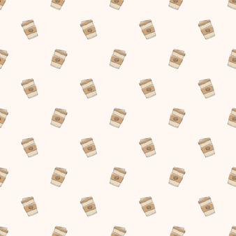 Hand gezeichneter kaffeetassenmusterhintergrund
