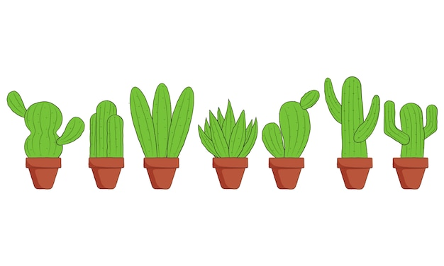 Hand gezeichneter kaktus mit topf