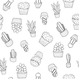 Hand gezeichneter kaktus und saftiges nahtloses muster