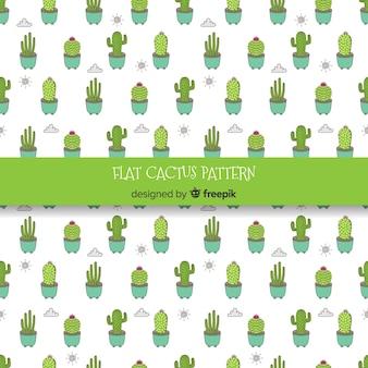 Hand gezeichneter kaktus, wolken und sonnenmuster