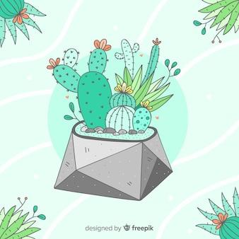 Hand gezeichneter kaktushintergrund