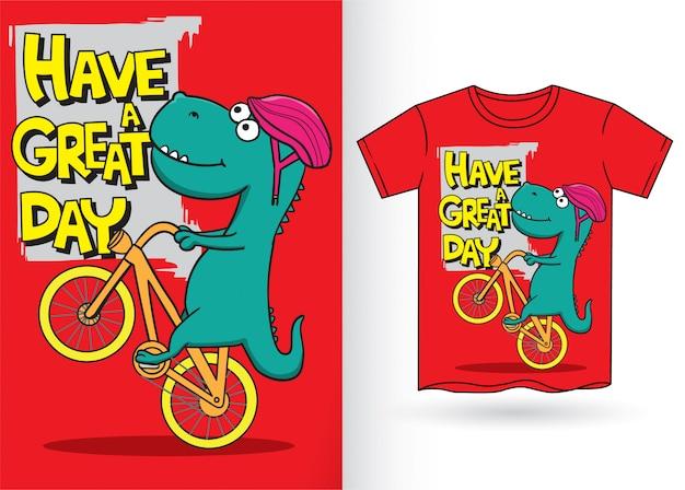 Hand gezeichneter karikaturdinosaurier für t-shirt