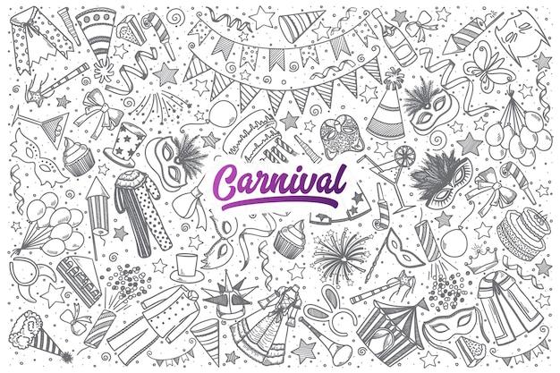 Hand gezeichneter karnevalskritzelsatzhintergrund mit lila beschriftung