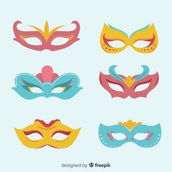 Hand gezeichneter karnevalsmasken-satz