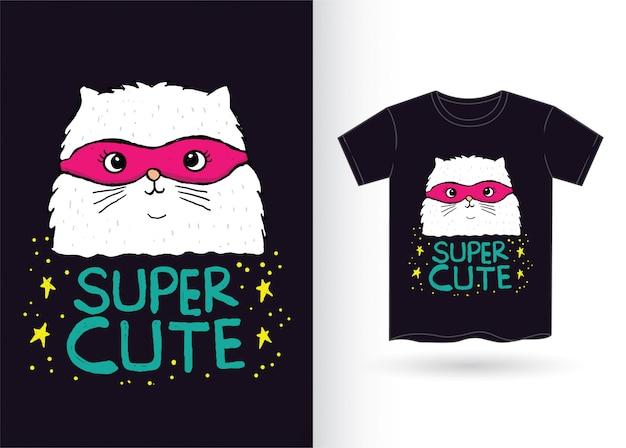 Hand gezeichneter katzensuperheld für t-shirt