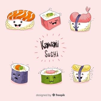 Hand gezeichneter kawaii sushisatz
