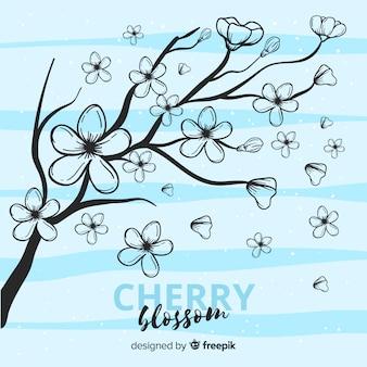 Hand gezeichneter kirschblüten-niederlassungshintergrund