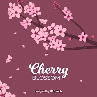 Hand gezeichneter kirschblütenhintergrund