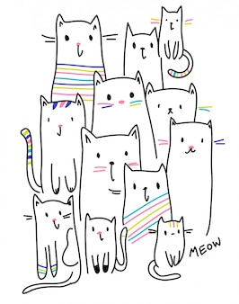 Hand gezeichneter Kittyvektor für T-Shirt Druck
