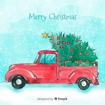 Hand gezeichneter kleintransporter mit weihnachtsbaum