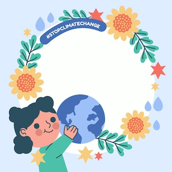 Hand gezeichneter klimawandel facebook-rahmen