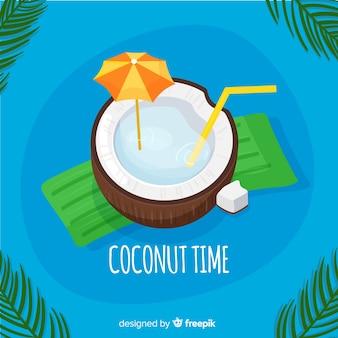 Hand gezeichneter kokosnusscocktailhintergrund