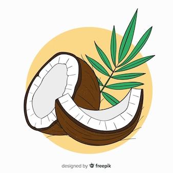 Hand gezeichneter kokosnusshintergrund