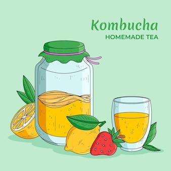 Hand gezeichneter kombucha-tee mit zitrone und erdbeere