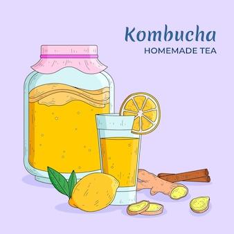 Hand gezeichneter kombucha-tee mit zitrone und ingwer