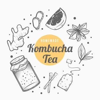 Hand gezeichneter kombucha-tee mit zutaten
