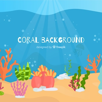 Hand gezeichneter korallenroter hintergrund