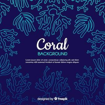 Hand gezeichneter korallenroter rahmenhintergrund