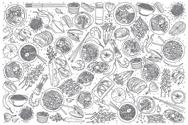 Hand gezeichneter koreanischer lebensmittelsatz