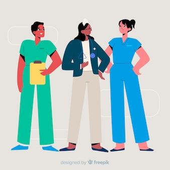Hand gezeichneter krankenschwesterteamhintergrund