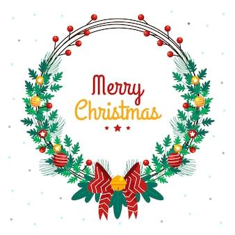 Hand gezeichneter kranz der frohen weihnachten