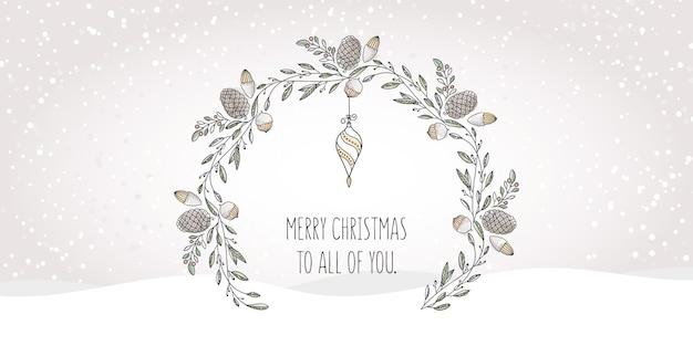 Hand gezeichneter kranz mit aquarell-elementen und weihnachtsgrüßen