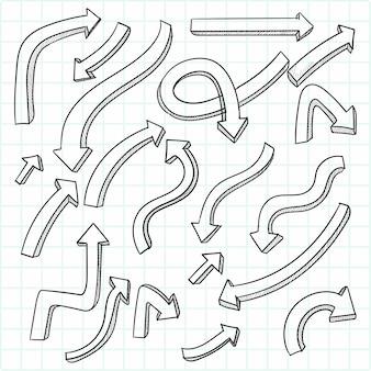 Hand gezeichneter kreativer pfeilsatzentwurf