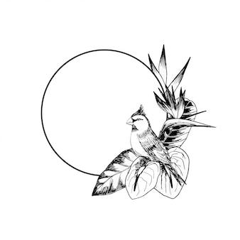 Hand gezeichneter kreisrahmen mit vogel und anlagen
