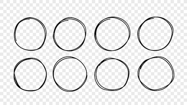 Hand gezeichneter kreisskizzenrahmensatz. elemente für das konzeptdesign. doodle-stil.