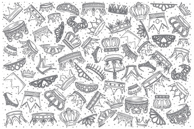 Hand gezeichneter kronengekritzelsatz