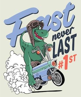Hand gezeichneter kühler dinosauriervektorentwurf für t-shirt druck