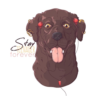 Hand gezeichneter labrador retriever hund mit kopfhörern und piercings