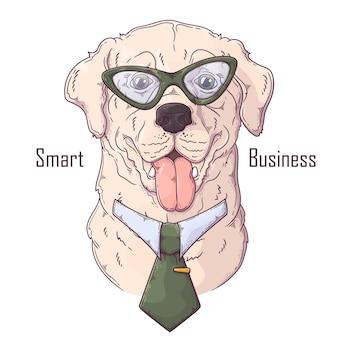 Hand gezeichneter labrador retriever hund mit krawattenzubehör