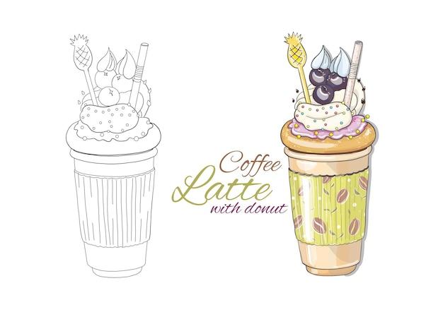 Hand gezeichneter latte in der version zwei