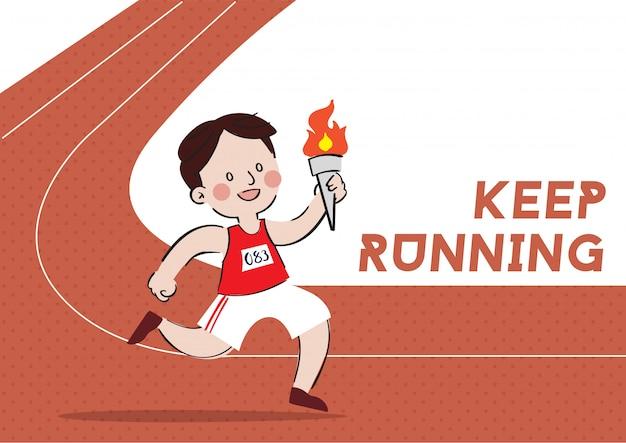 Hand gezeichneter laufender charakterdesignvektor des athleten