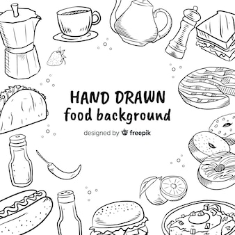 Hand gezeichneter lebensmittelhintergrund