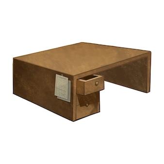 Hand gezeichneter leerer Schreibtisch lokalisiert auf weißem Hintergrund
