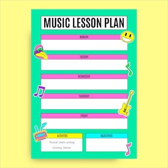 Hand gezeichneter lustiger cooler musikunterrichtsplan
