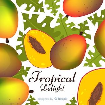 Hand gezeichneter mango und blatthintergrund
