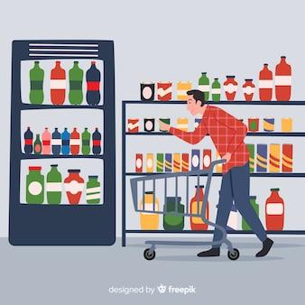 Hand gezeichneter mann im supermarkt