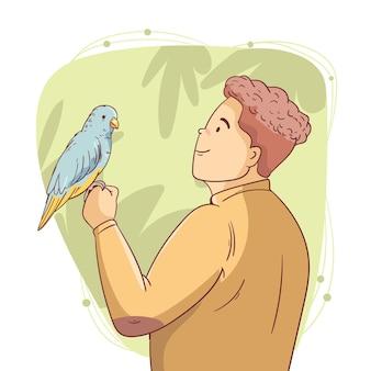 Hand gezeichneter mann mit papagei