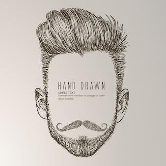 Hand gezeichneter mann mit schnurrbart