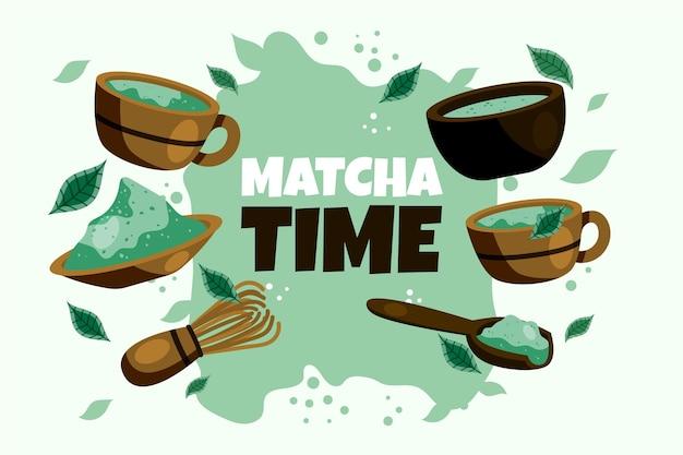 Hand gezeichneter matcha-tee-hintergrund